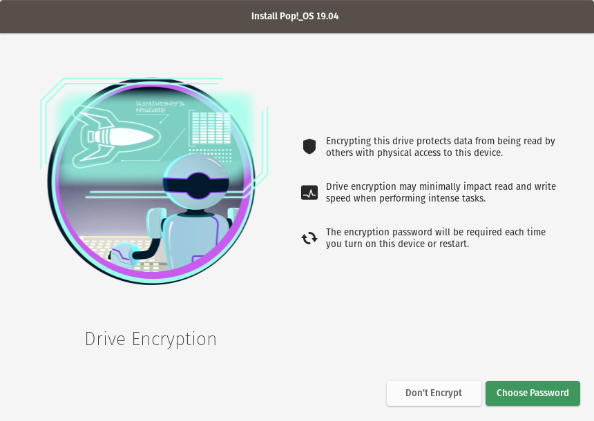 Encryption, in-progress screen