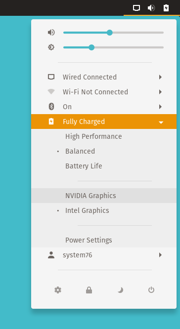 Power Profiles/Graphics toggle