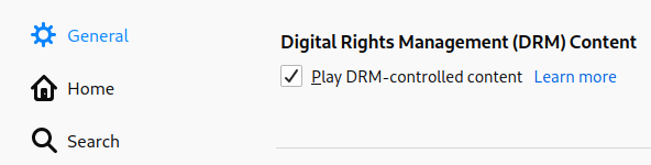 Enable DRM in Firefox by ticking the checkbox